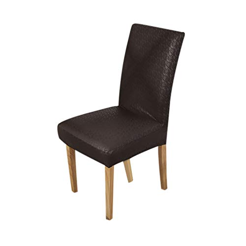Huaji Dining Chair Cover Solid PU Leather Waterproof Stretch Chair Protector Slipcover