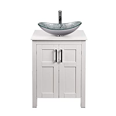 Puluomis 24 Inches Traditional Bathroom Vanity Set in White Finish, Single Bathroom Vanity with Top and 2-Door Cabinet, Boat Tempered Glass Artistic Sink Top with Single Faucet Hole
