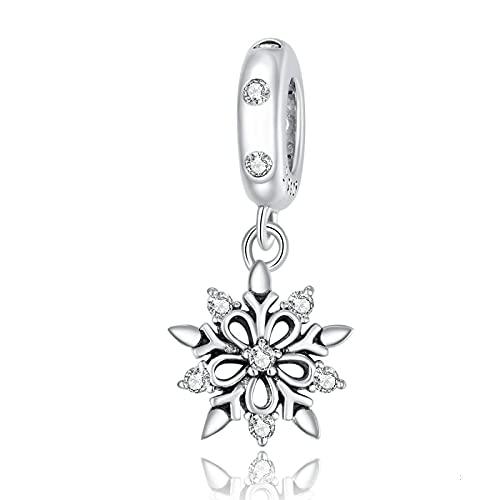 LISHOU Regalo De Mujer 925 Cuentas De Plata Esterlina Crystal Snowflake AAA Zircon Geometry Charms Bead Colgante Pulseras Collares con Cuentas DIY Fabricación De Joyas