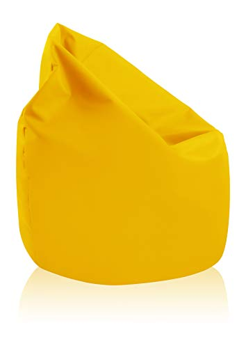 alibey Sitzsack Birne Riesensitzsack Outdoor Indoor Kinder Tropfenform Bodenkissen Freizeit Schule Sessel (Gelb)