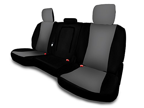 CarsCover Custom Fit 2013-2018 Dodge Ram 1500 2500 3500 Pickup Truck Neoprene Car Rear 60/40 Seat Covers with Armrest Gray & Black Sides