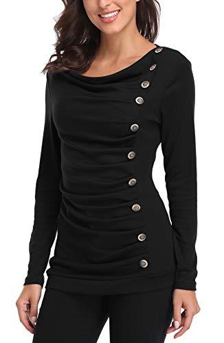 MISS MOLY Damen Langarmshirt Pullover Tunika Bluse T Shirt mit Knöpfen Schwarz Medium