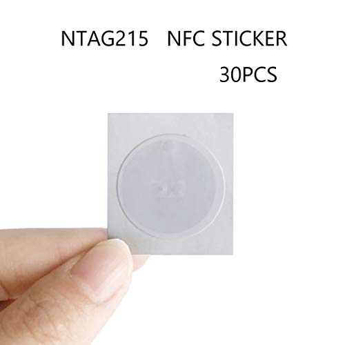30 Pieces NTAG215 NFC Tag, NTAG 215 NFC Tags Sticker Compatible with TagMo and Amiibo,504 Bytes Memory Fully Programmable for All NFC Enabled Devices,100% Guaranteed!