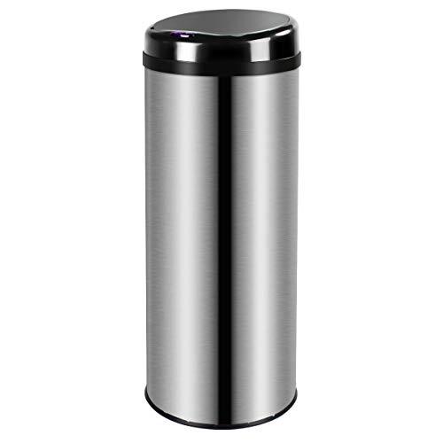 Display4top Cubo de Basura Sensor, Acero Inoxidable Cocina Cuarto de baño Desodorante Bote de Basura (50LRound)