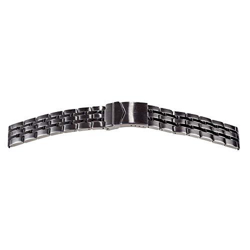 Shopkdo - Correa de reloj de acero macizo con cierre desplegable de seguridad Rowi (20 mm)