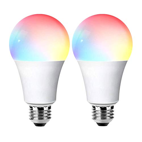 LED Glühbirne für Alexa e27 Farbwechsel, Smart Lampe für Google Home RGB Lampen +Cold+Warm Bulb 2700-6500K Glühbirne Dimmbar WiFi Licht mit App (10W 1000Lm, 2er Pack)
