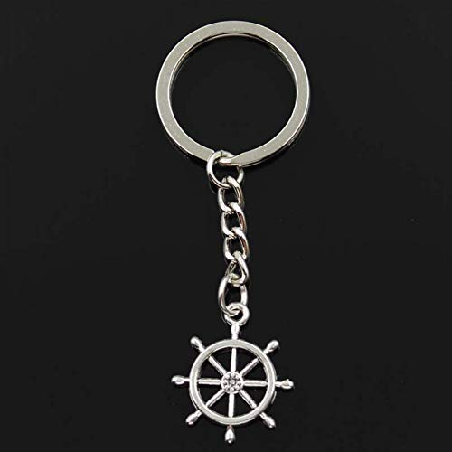 JQFEN Fashion Keychain 27X23Mm Rudder Helm Bronze Silver Color Pendants Diy Men Car Key Chain Ring Holder Souvenir For Gift