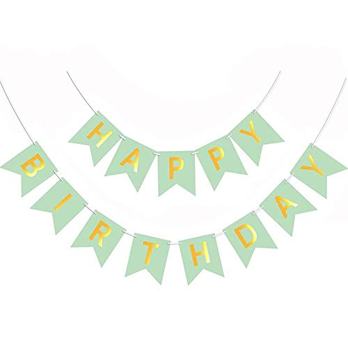 Happy Birthday Banner - Birthday Garland, Banner (YNKS), Birthday Party Decorations, Birthday Backdrop (Pastel Green)
