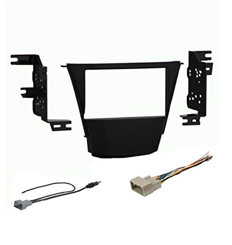 Car Stereo Dash Mount Kit, Wire Harness and Antenna Adapter Combo to Install a Double Din Size Aftermarket Radio for 2007-2013 Acura MDX (2010-2013 No Factory Nav)- No Factory Premium System