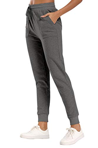 fitglam Women's Jogger Sweatpants Comfortable Soft Yoga Lounge Pants with Pockets(Deep Heathered Gray, M)