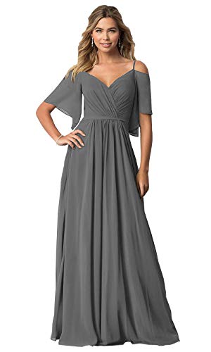 KKarine Off The Shoulder Ruffled Chiffon Bridesmaid Dresses for Women V Neck Long Party Gown (16 Grey)