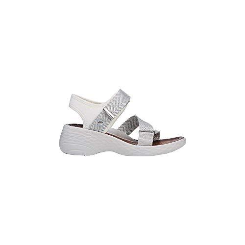 BZees Womens Jive Wedges Sport Sandals White 7 Medium (B,M)