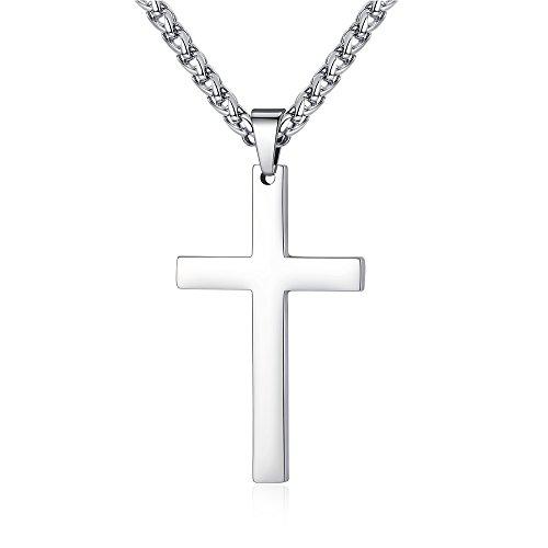 FOSIR Herren Halskette Edelstahl Kreuz Anhänger mit 3-4mm breite Weizen Ketten Halskette,Silber