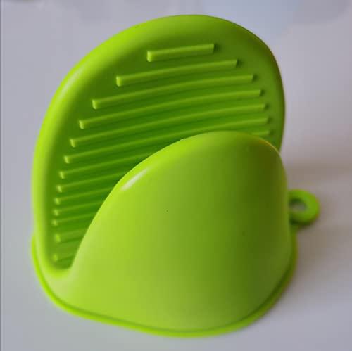PPuujia Guantes de silicona de aislamiento térmico para cocina, antiescaldaduras, antideslizantes, para el hogar, horno, microondas, (color: 1 par verde)