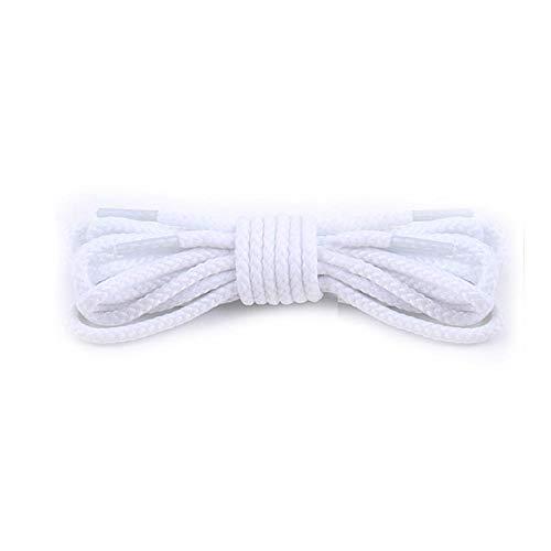 BTKNOO 1 Paio di Lacci Rotondi Tinta Unita 80/100/120/140/160 cm per Scarpe da Ginnastica Casual alla Moda Scarpe in Pelle Martin Boots Lacci, Bianco,