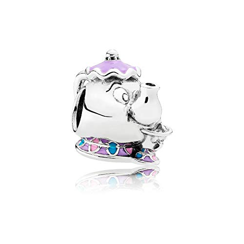 Pandora Damen Disney Mrs. Potts & Chip Beauty and the Beast Charm Sterling Silber, Emaille 792141ENMX