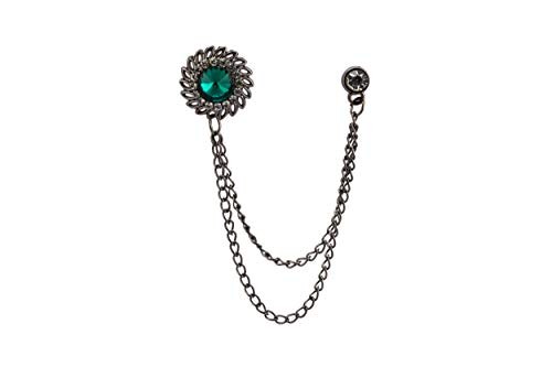 Knighthood Green Stone with Inspired Stone Detailing Hanging Chain Lapel Pin Badge Coat Suit Wedding Gift Party Shirt Collar Accessories Brooch for Men