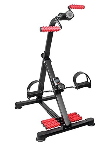 JFJL Pedal Exerciser - Hand Arm Leg & Knee Recovery Medical Peddler with Foot Massager Roller Folding Adjustable Fitness Rehab Equipment for Seniors, Elderly - Home Pedal Exercise Bike for Total Body