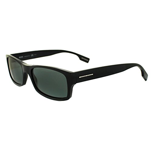 Hugo Boss Men's 0407 Black Frame/Grey Polarized Lens Plastic Sunglasses