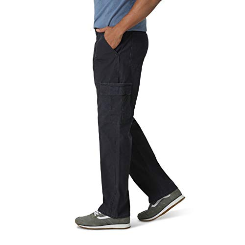 Wrangler Authentics Men's Classic Twill Relaxed Fit Cargo Pant, Navy Ripstop, 34 x 30
