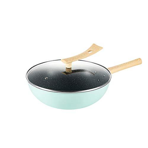 Houtnerf handvat anti-aanbakpan, koekenpan, gladde anti-aanbaklaag, verbrandingsbeveiliging, antislip, grote en lichte kookpot