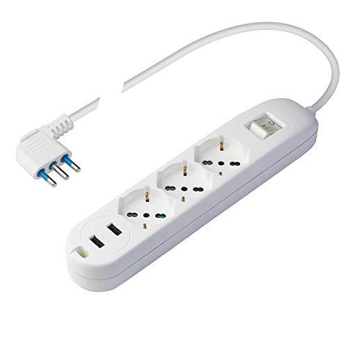 Poly Pool PP2526 Multipresa 3 Prese Pluristandard (16A+10A+schuko) - 2 Prese USB 2.4A per Carica Veloce – Cavo Alimentazione 1,5 m - Spina Salvaspazio 16A 2P+T - Interruttore Luminoso - Bianco
