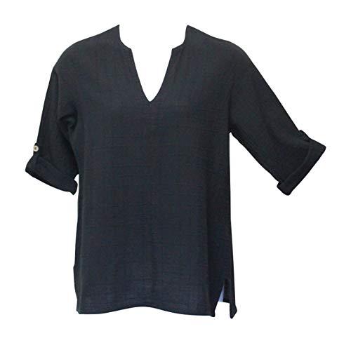 Ezze Wear Women's Black Dotty Gauze Cotton Teah Tunic Top (3X, Black)