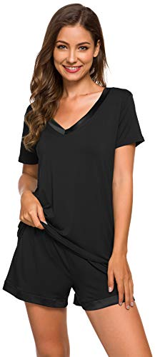 WiWi Womens Bamboo Pajamas V Neck Pajama Set Short Sleeves Pjs Plus Size Stretchy Top with Shorts Sleepwear S-4X, Black, Medium