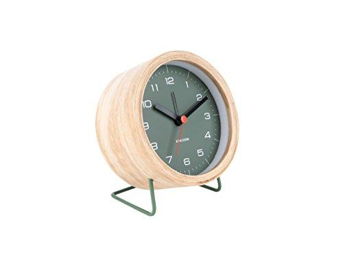 Karlsson KA5669GR Wecker/Alarm Clock - INNATE - grün - Holz - Ø 10,5 cm