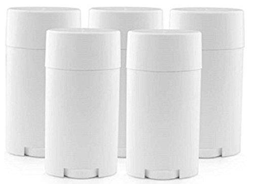5 recipientes vacíos de plástico de 15 ml con tapa, color blanco, para desodorante, bálsamo labial, etc.