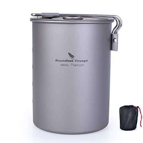 iBasingo Titan Tasse Camping Topf mit Klappgriff & Deckel Outdoor Ultraleicht Kaffee Wasser Becher Picknick Kochgeschirr für den Täglichen Gebrauch Rucksackreisen Ti2040C