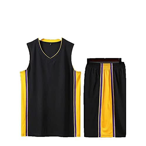 SJWJ Conjunto de Camiseta de Baloncesto Camiseta de Baloncesto para niños y niñas, Conjunto de Chaleco Transpirable + Pantalones Cortos para niños,Negro,XS