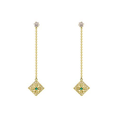 DODO.GOGO S925 Nadel mikroverkrustet Handwerk Licht Smaragd Smaragd Fluss su Ohr Nägel hochwertige Exquisite Elegante Ohrringe