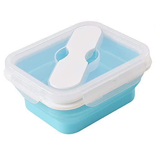 ionEgg Fiambrera de silicona con cuchara y tenedor, contenedor plegable de almacenamiento de alimentos con tapa de clip, 20 onzas