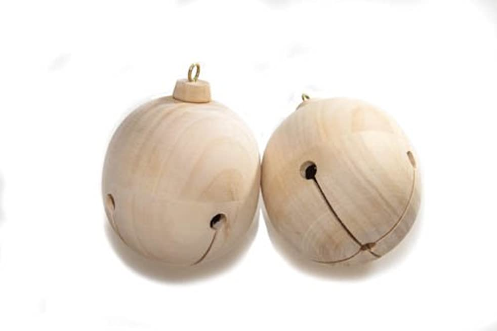 Wooden jingle Bell Ornaments 3-1/4'' Tall (3-9/16'' with eye hook) x 2-13/16'' Wide | Pack of 2 Unfinished DIY Wood Jingle Bells | Perfect For Christmas Decorations - By Woodpeckers
