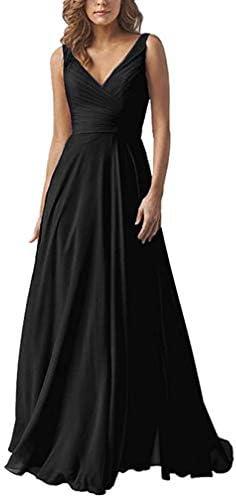 Yilis Women s V Neck A Line Formal Chiffon Bridesmaid Dress Long Prom Party Dress Black US8 product image