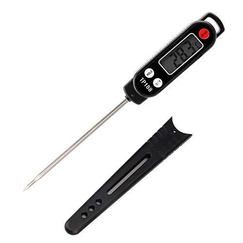 MEKUULA Thermometre de Cuisine Digital Thermomètre Alimentaire Longue Sonde Instantanée 5 Secondes LCD Large Ecran Thermomètre pour Patisserie, Culinaire, Lait à Viande, Barbecue, Pâtisserie