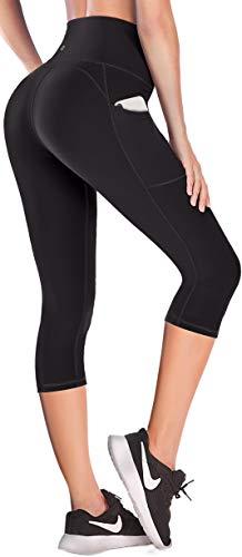 Lift Leggings with Pockets for Women High Waisted Yoga Pants for Women Workout Capri Leggings for Women Black
