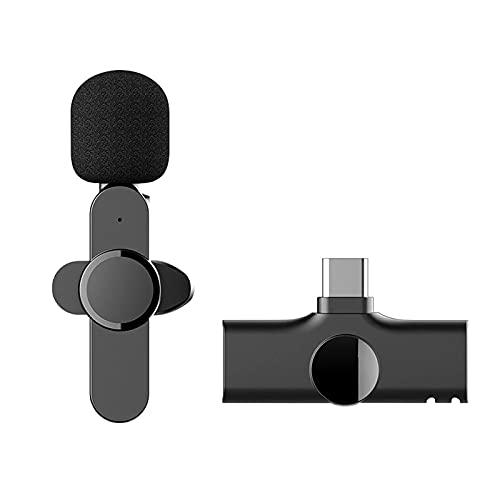 Nicoone Micrófono inalámbrico Lavalier, micrófono de clip con receptor mini micrófono portátil con cancelación de ruido micrófono USB para grabación de entrevistas en vivo