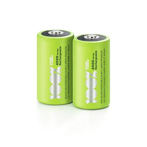 100% PeakPower Akkus C/Baby, NiMH Akku-Batterien mit LSD Technologie, Ready2Use, bereits vorgeladen, Typ Babyzelle HR14 wiederaufladbar, Kapazität 4000mAh, 1,2V (1,2 Volt) (2 Stück)