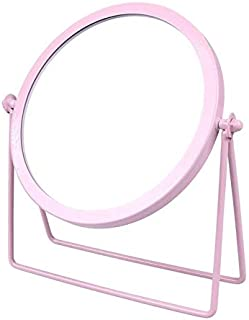 1PC Single Side Cosmetic Mirror Round Makeup Mirror Bedroom Desktop Mirror for Women Ladies Black (Color : Pink)