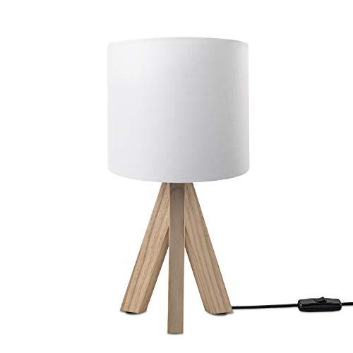 Paco Home LED Luminaria Infantil Cuarto Infantil Luminaria Mesa Mesilla Colores Uni E14, Base de la lámpara:Lámpara de mesa de madera + Bombilla, Pantalla de lámpara:Blanco (Ø18 cm)