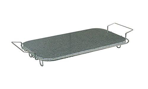 Pietra Ollare rettangolare (41x23 cm) con supporto in acciaio