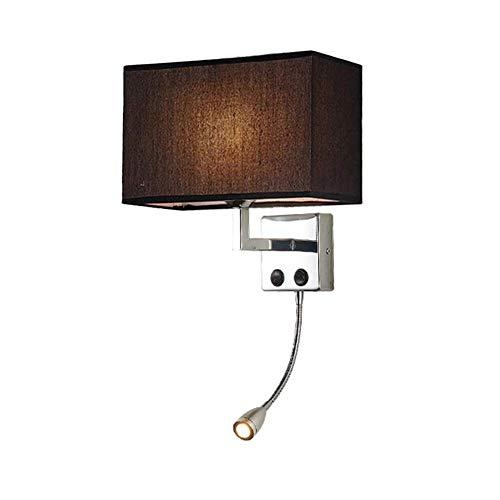Wandlamp leeslamp led met dubbele schakelaar, flexibele arm, stof, lampenkap, rechthoekig, binnenverlichting, zwart, roestvrij staal, decoratie, nachtkastje, wand, hotel, allee, gang
