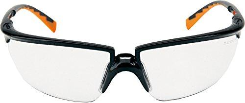 3M SOLUS Schutzbrille Solus0AF, AS/AF, PC, klare Polycarbonat-Scheiben, Rahmen schwarz/orange inkl. Mikrofaserbeutel