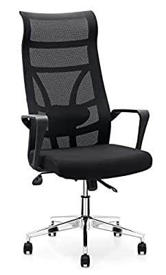 Allguest Office Chair Home Computer Chair White High Back Armrest Ergonomic Adjustable Lumbar Support Mesh Nylon AG-876
