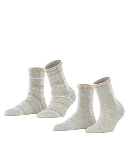 ESPRIT Damen Easy Stripe 2-Pack W SO Hausschuh-Socken, Grau (Storm Grey 3820), 39-42 (2er Pack)