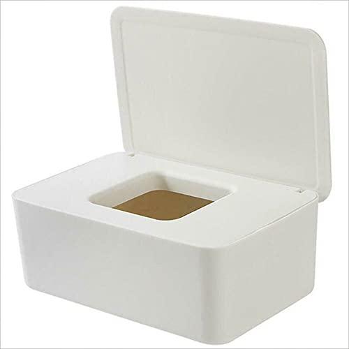 Caja de almacenamiento de servilletas, dispensador de pañuelos húmedos, soporte de caja de pañuelos húmedos para pañales para bebés, con cierre de tapa, blanco
