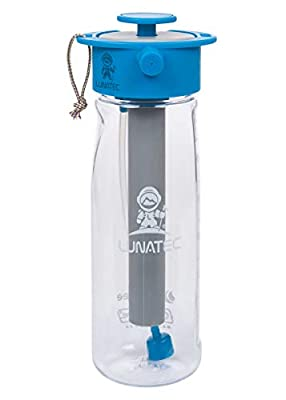 Lunatec Aquabot sport water bottle - a pressurized mister, camp shower and hydration in one. Portable running water for your pocket. BPA free. (Clear 650mL)