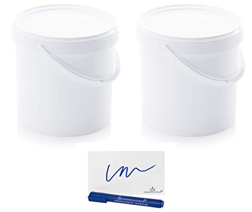 MARKESYSTEM - Cubo HERMÉTICO Catering - Pack 2 x18 litros - Cubos de Plástico con Tapa - Contenedores Apilables - Envasar Alimentos, Líquidos y Pinturas - Polipropileno Blanco + Kit Etiquetado